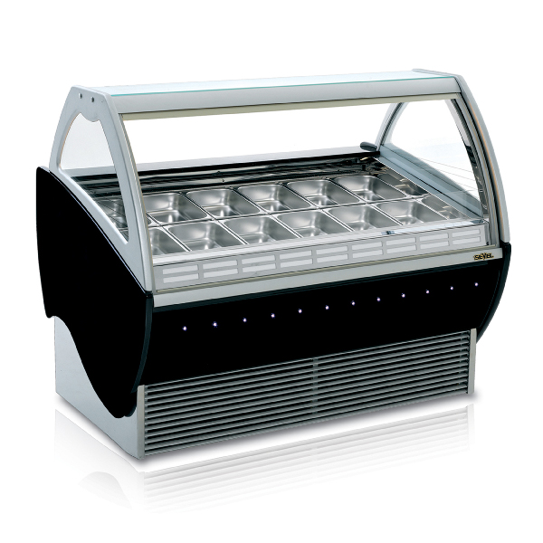 aspen deluxe gelato display case 12 16 18