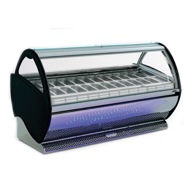 aspen deluxe gelato display case 24 flavor