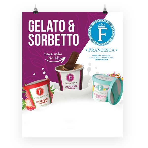 single-serve gelato and sorbet poster